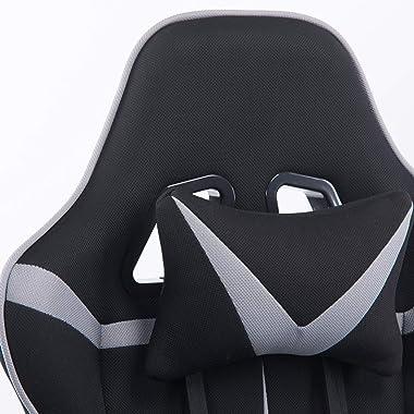 WOLTU® Racing Chaise en Tissu,Chaise de Gaming avec Fonction d'inclinaison, Chaise de Bureau pivotant réglable en Hauteur