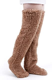 Over Knee High Fuzzy Socks Plush Slipper Stockings Furry Long Leg Warmers Winter Home Sleeping Socks