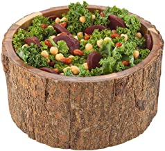 Large Round Acacia Wood Serving Bowl Varnished with Bark D10x5 inches, 140 Ounce 1ct Box - Restaurantware