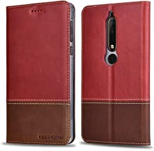 KEZiHOME Nokia 6 2018 Case, Nokia 6.1 Wallet Case, Genuine Leather Wallet Case with [Kickstand] [Card Slots] Protective Cover for Nokia 6.1/ Nokia 6 2018 (Not for Nokia 6 2017) (Red)