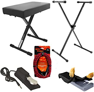 On Stage KT7800 Padded Keyboard Bench With On Stage Classic Single-X Keyboard Stand With On Stage KSP100 Universal Sustain Pedal With Keyboard Dust Cover for 88 Key Keyboards + Hot Wires Guitar Instrument Cables - 20 Feet, Braided Top instrument Bundle