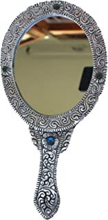 Oxidized White Silver Metal Oval Vanity Pocket or Hand Mirror Handicraft for Home Decor Gift Item
