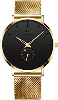 Men's Watches Gold Fashion Slim Wristwatches Analog Water Resistant Quartz Watch Unique Design for Daily Use Male