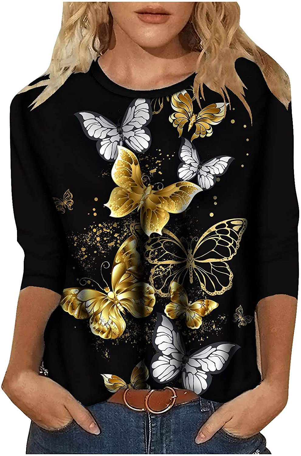 Tops Denver Mall for Woman Solid Casual Max 69% OFF Long Flowe Sleeve Butterfly Crewneck