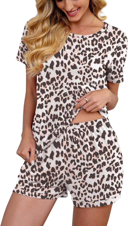 PrinStory Pjs for Women Short Sleeve Pajama Set Summer Sleepwear