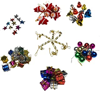 KRIWIN Plastic X MAS Tree Decorations Combo (Multi_Small) Pack of 82
