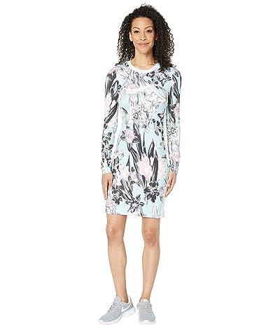 Nike NSW Hyper Femme Dress Long Sleeve All Over Print (Topaz Mist/White) Women