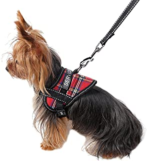 Uheng Service Vest Dog Harness - Adjustable Nylon Dog Vest with Reflective Patches for Small Service Dogs in Training