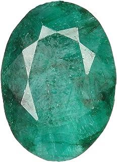 REAL-GEMS Piedra preciosa verde facetada AAA natural, esmeralda suelta, color verde profundo, forma ovalada de 13,50 quilates