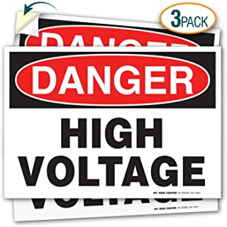 (3 Pack) Danger High Voltage Decal Sign - 10