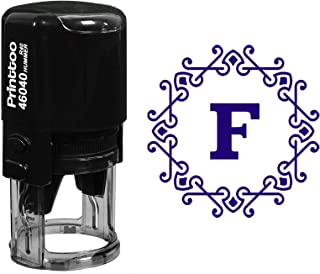 Printtoo Office Stationary Octagon Celtic Swirl Frame F Alphabet Monogram R-40 Self Inking Rubber Stamp-Violet