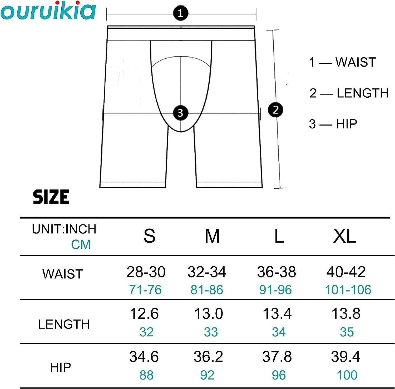 Ouruikia Men's Underwear Cotton Boxer Briefs Long Leg Boxer Brief Shorts No Ride Up Boxers with Separate Pouch
