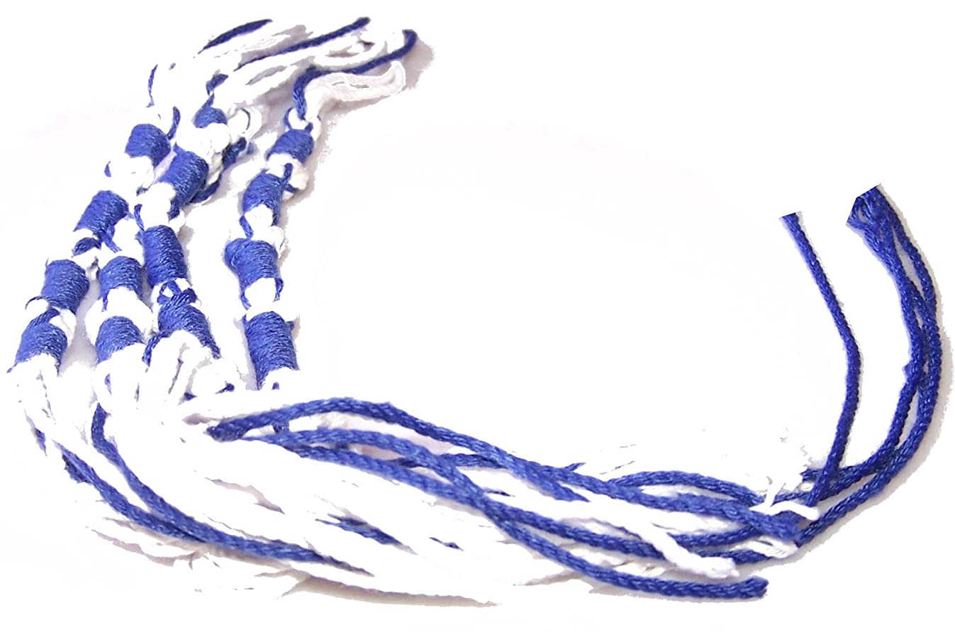 Holy Land Market Tzitzits (Set of Four) White with Blue Thread - Tassels (with Longer Blue Messiah Thread) (Royal Blue)