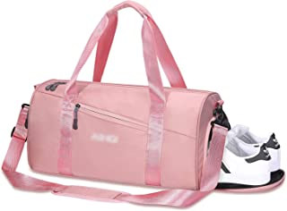 Women Packable Sports Gym Bag with Wet Pocket & Shoes Compartment Travel Duffel Bag Pink (pink)