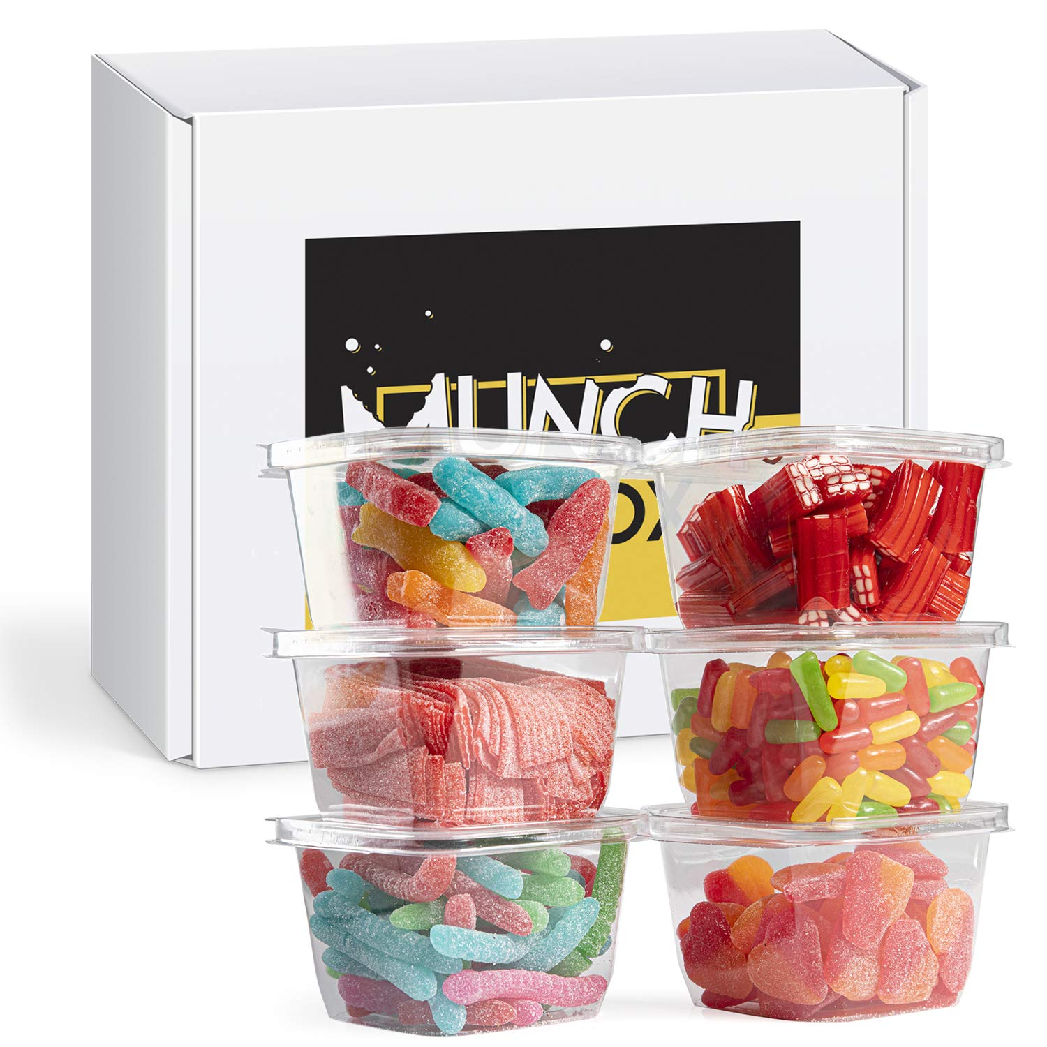 Munch In A Box Snack Care Package - Assorted Candy and Treats Gift Box - Delicious Snacks for Office, Dorm, Home - Party and Holiday Gift Boxes - Variety of 6 Candies and Snacks