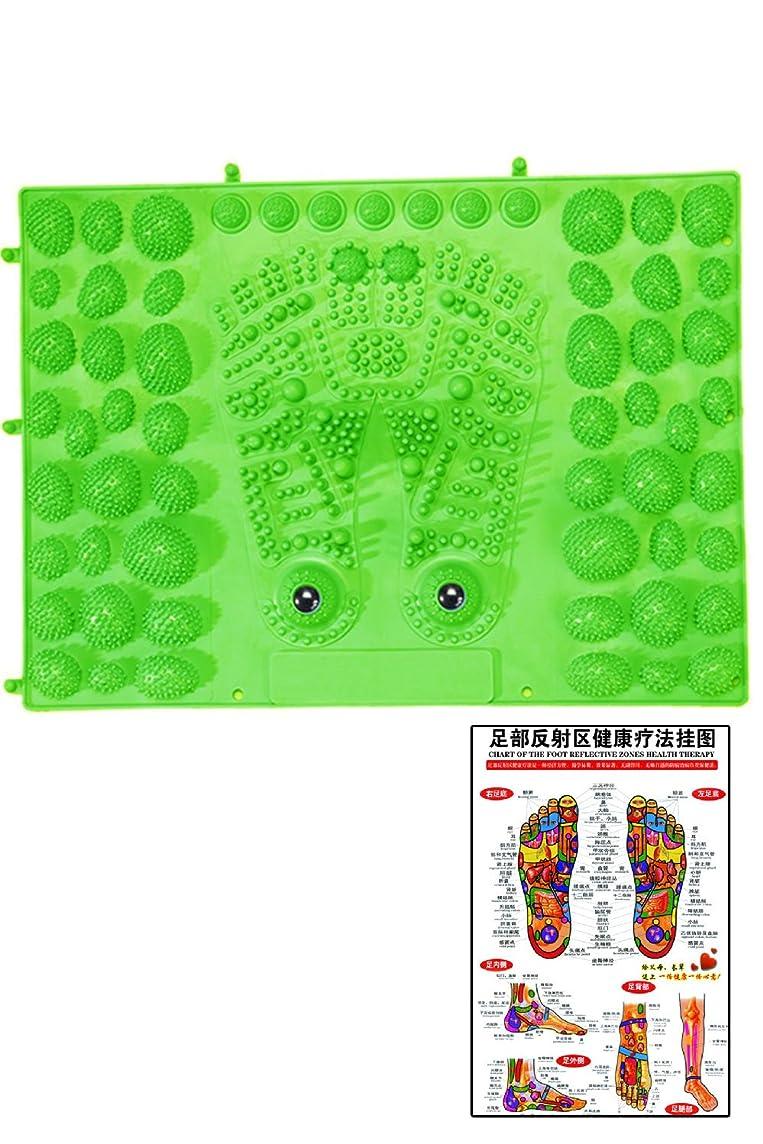 腰バケットスペード(POMAIKAI) 足型 足ツボ 健康 マット ダイエット 足裏マッサージ 反射区 マップ セット (グリーン)