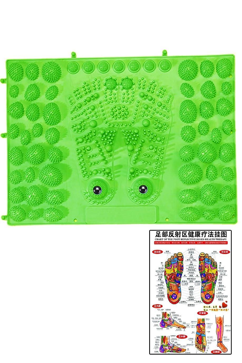 統治する複製する加速する(POMAIKAI) 足型 足ツボ 健康 マット ダイエット 足裏マッサージ 反射区 マップ セット (グリーン)