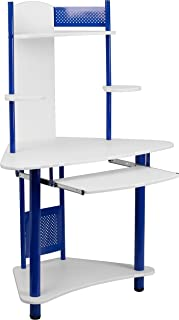 Flash Furniture Blue Corner Computer Desk with Hutch , White/Blue -
