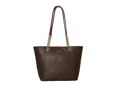 Calvin Klein Monogram East/West Tote (Poppy) Tote Handbags