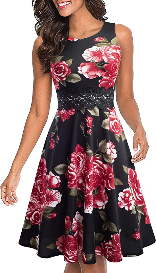 Women's Vintage 50s Sleeveless Floral Embroidered Cocktail Swing Dress A079