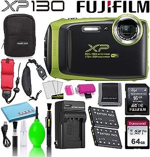 دوربین دیجیتال ضد آب Fujifilm FinePix XP130 (آهک) 600019825 بسته پیشرفته لوازم جانبی شامل کارت حافظه 64 گیگابایتی ، باتری اضافی ، شارژر باتری و تسمه مچ دست شناور