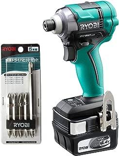 リョービ(Ryobi) 充電式インパクトドライバー BID-148L5F 5本組ビットセット 4989984 オリジナルセット品 緑・黒