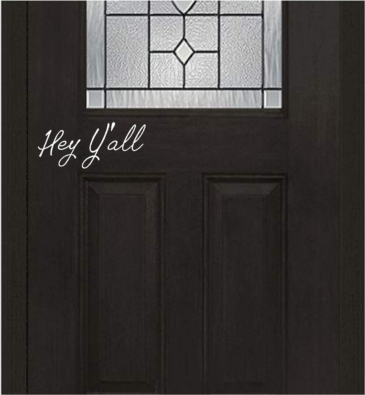 Front Door Sticker - Hey Y'all - Inspirational Wall Sayings Vinyl Decals Art (White)