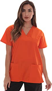 Solid Scrub Top for Women with Pockets and V-Neck