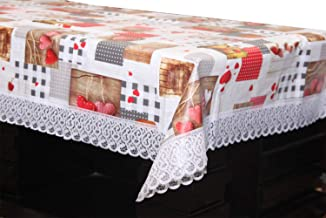 Kuber Industries Checkered PVC 4 Seater Centre Table Cover - Cream