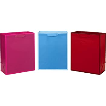 Hot Pink for Birthdays Parties or Any Occasion Light Pink Blue Pack of 5 in Red Green Holidays Hallmark 6 Small Solid Color Gift Bags