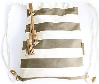Vale BACKPACK, zaino zainetto canvas e cuoio, tela e cuoio italiano, a righe marrone. Personalizzata con le tue iniziali