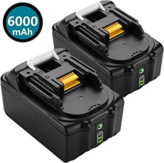 2 pack 6.0Ah 18V BL1860B LXT Lithium-Ion Replacement Battery for Makita BL1815 BL1830 BL1820 BL1850 BL1840 BL1850B-2 LXT-400 BL1845 194205-3 BL1860 194204-5 18-Volt Cordless Power Tools Batteries