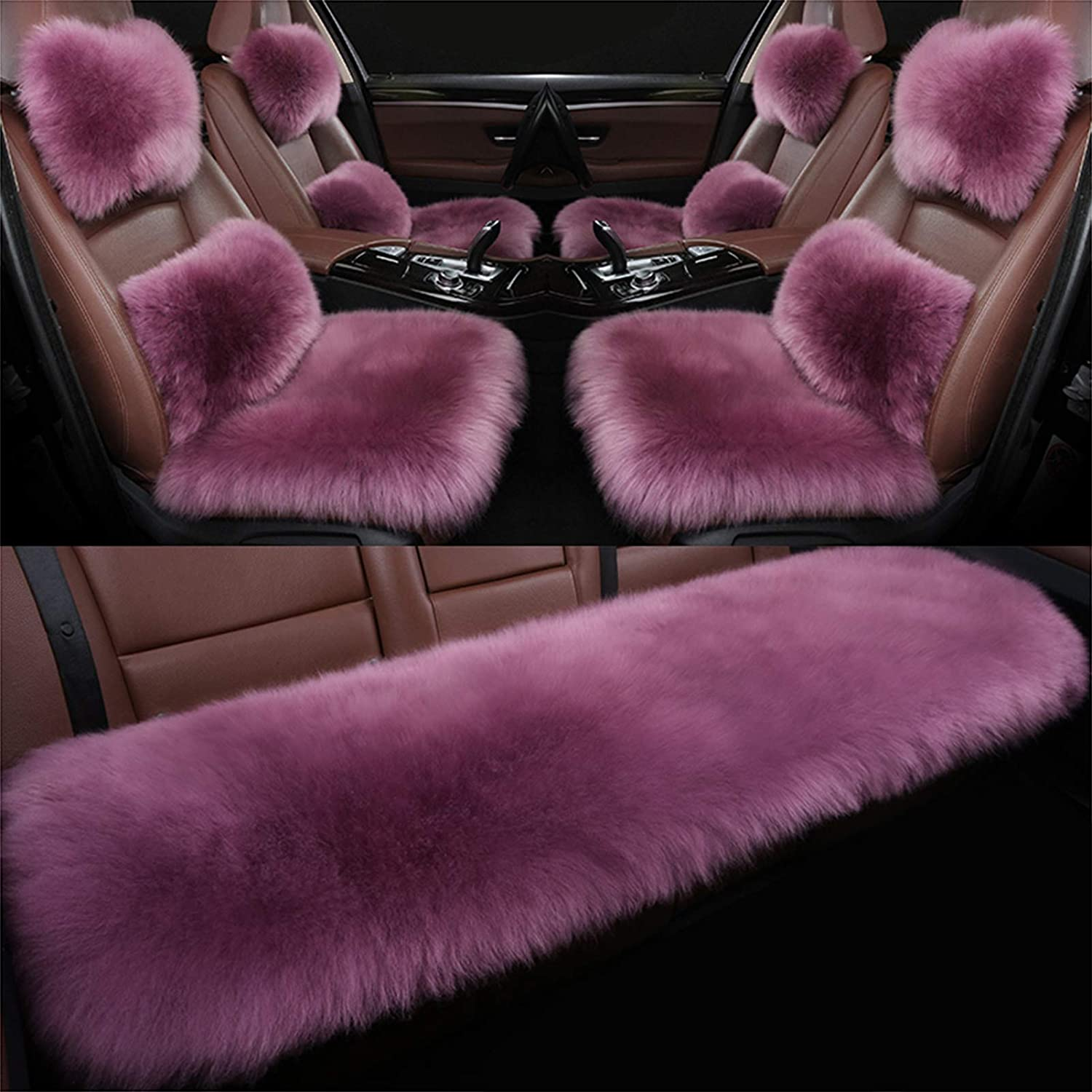 AP.DISHU 7 Pieces Branded goods Sheepskin Car Animer and price revision Seat Bre Genuine Cover Plush Fur