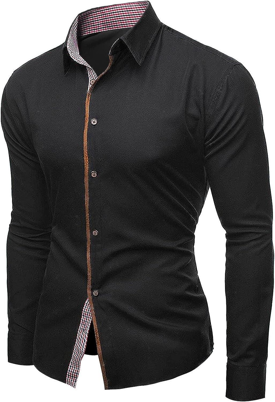 FORUU Mens Elegant Shirts 2021,Fall Slim Long Sleeve Shirts Personalized Striped Shirt Casual Solid Button Down Shirts