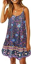 MISSLOOK Women's Floral Spaghetti Strap Short Dress Boho V Neck Beachwear Vintage Ruffle Mini Dress Sundress