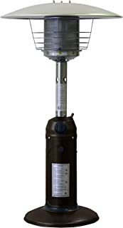 Hiland HLD032-CG Portable Table Top Patio Heater, 11,000 BTU, Use 1lb or 20Lb Propane Tank, Bronze/Gold Hammered Finish