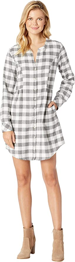 Buffalo Check Flannel Mandarin Collar Button Front Tunic Dress