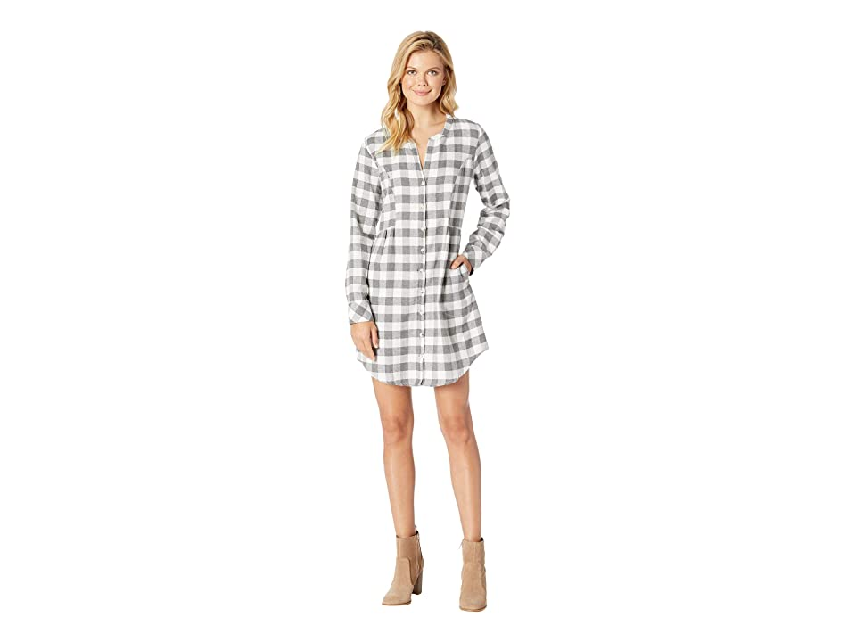 Mod-o-doc Buffalo Check Flannel Mandarin Collar Button Front Tunic Dress (Grey) Women