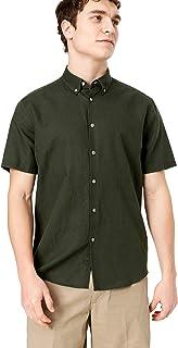Marks & Spencer Men's S/S Linen Cotton Shirt, Khaki
