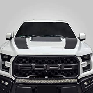 Factory Crafts Hood Racing Stripe Graphics kit 3M Vinyl Decal Wrap Compatible with Ford F-150 Raptor 2017-2019 - Nimbus Gray