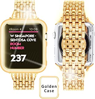 Ezzdo Apple Watch Diamond Band 44mm Series 4, Rhinestone Luxury Diamond Stainless Steel Replacement Bands with Case for Apple Watch 42mm 44mm Series 1/2/3 (Gold, 44mm)