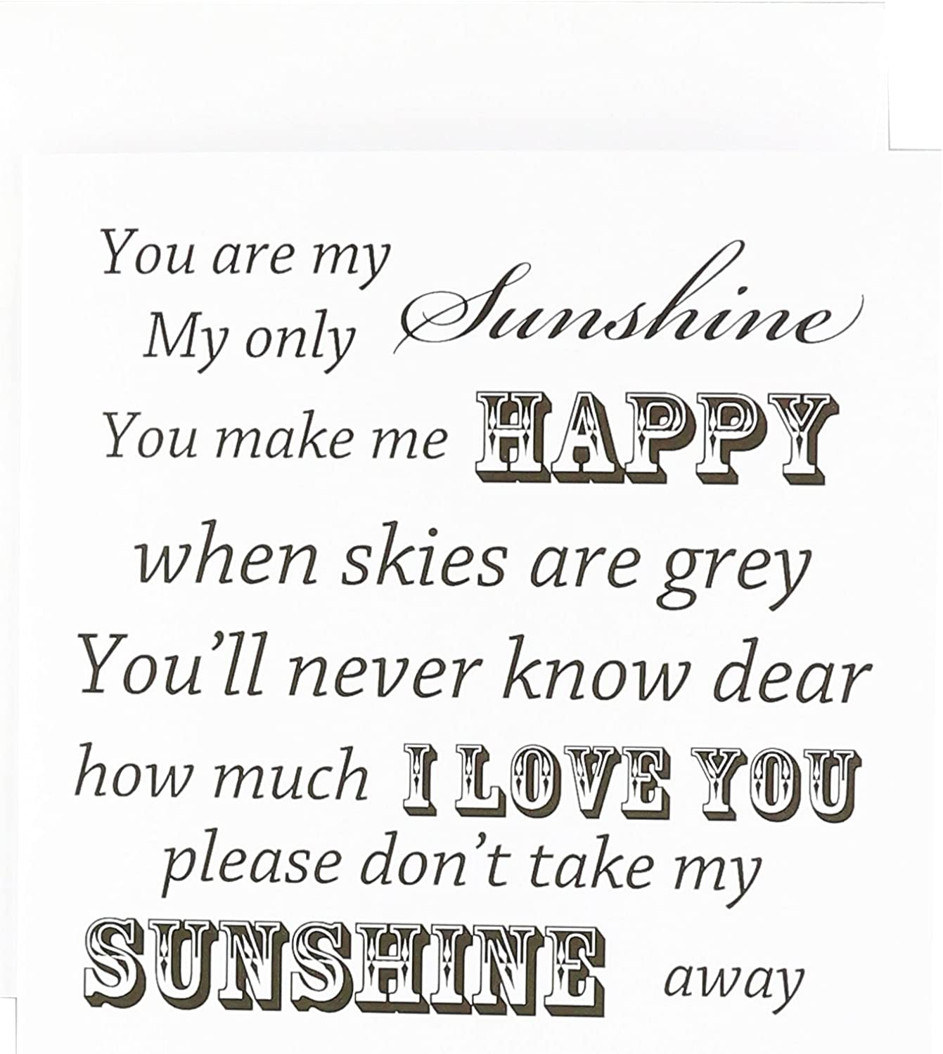 Amazon.com  You Are My Sunshine  Word Art  Vintage Song ...