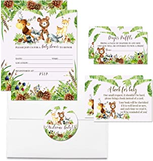 """Deluxe Watercolor Woodland Forest Animals Baby Shower Party Bundle, Includes 20 Each of 5""""x7"""" Fill in Invitations, Diaper Raffle Tickets, Bring a Book Cards & 2"""" Thank You Favor Stickers w/Envelopes"""
