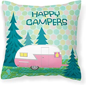 Caroline's Treasures VHA3004PW1414 Happy Campers Glamping Trailer Fabric Decorative Pillow, 14Hx14W, Multicolor