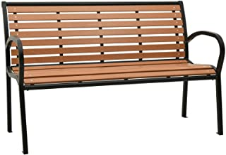 Schwarz Festnight Gartenbank mit Tisch 2 Sitzer Sitzbank 125 cm Au/ßenbank Wetterfest Parkbank Stahl Terrassenbank Metall Ruhebank Balkonbank Bank f/ür Garten Balkon Outdoor Terrasse