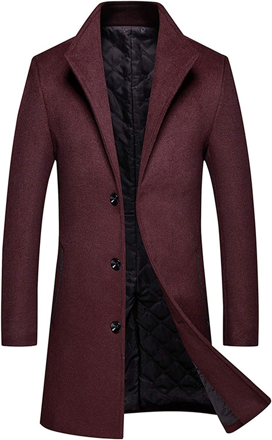 HOP FASHION Men's Wool Blend Trench Coat Long Slim Fit Thicken Jacket Overcoat Notched Lapel Single Breasted Pea Coat HOPM417-Wine-XS