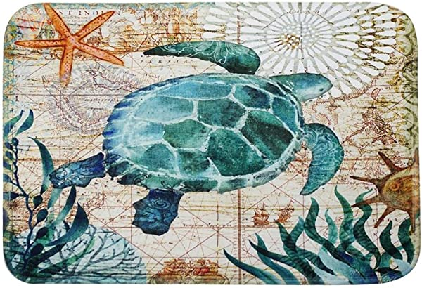 Mikolot Cartoon Water Absorption Carpet Anti Slip Bath Rug Bedroom Door Mat Turtle