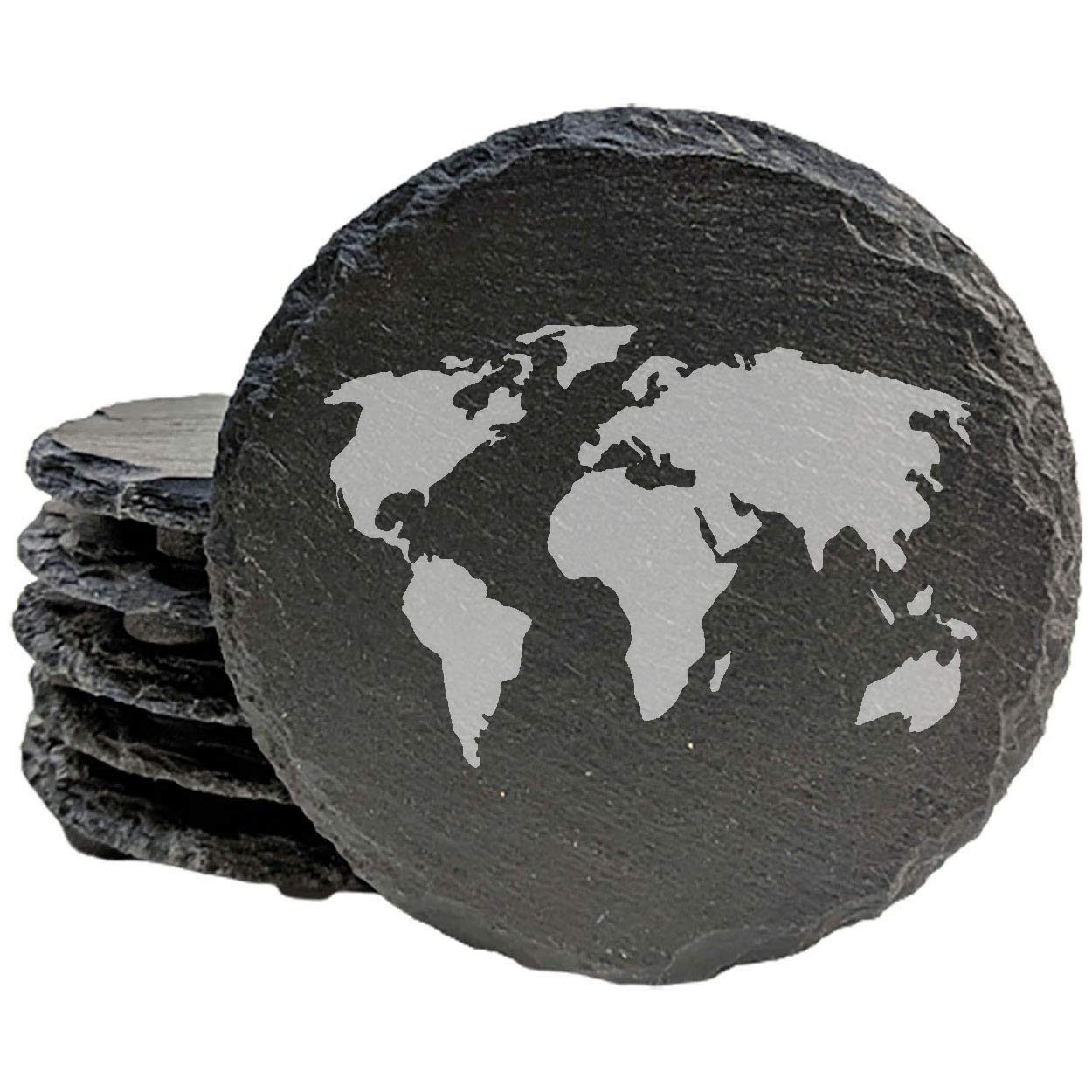 World Ranking TOP13 Map Max 44% OFF Coasters - Round Slate set of 8