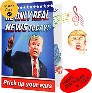 Singing & Flashing Trump Birthday Card - Wishes You Happy Birthday in Donald Trump's Real Voice and Funny Flashing Red Mouth, Greeting Cards Includes Envelope