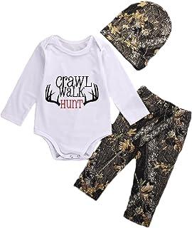 Newborn Baby Boys Long Sleeve Letters Deer Romper Bodysuit Pants Hat Outfit Clothes Set